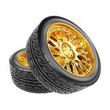 Gold Car Wheels with the Rubber Tires. Clipping Path.  Isolated on White. 3D Illustration Stock Photo