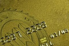 Gold Card. Gold credit card with shallow depth of field Stock Photos