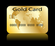 Gold card. Illustration of credit card on a black  background Royalty Free Stock Photos