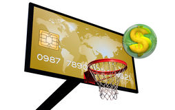 Gold card. Credit card on a basketball with a dollar sign in a green 3d chrome sphere Royalty Free Stock Images