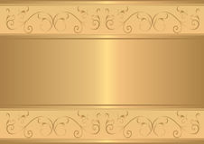 Gold card with floral gold design Royalty Free Stock Images