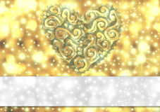 Gold card with heart and stars Stock Image