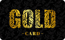 GOLD CARD. The inscription created from a floral ornament. Golde Stock Photography