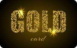 GOLD CARD. The inscription created from a floral ornament. Lette Royalty Free Stock Photography