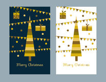 Gold card merry Christmas Royalty Free Stock Photography