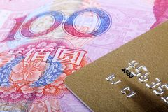 Gold card with RMB. Stock Photography