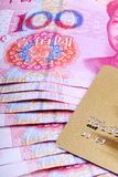 Gold card with RMB. Royalty Free Stock Photo