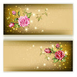 Gold card with roses Royalty Free Stock Photos