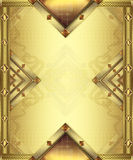 Gold card vertical. Gold card for congratulations with stones and net Stock Photography
