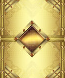 Gold card. Gold vintage card with floral background and precious stones Royalty Free Stock Images