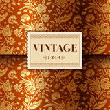 Gold card with vintage flower bouquets Stock Photo