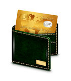 Gold card in wallet over white background Royalty Free Stock Photography