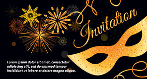 Gold carnaval mask. Black vector festive invitation card with gold mask, bokeh, fireworks, streamers. Template for flyers, banners, Christmas cards Royalty Free Stock Image