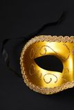 Gold carnival mask Royalty Free Stock Images