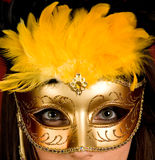 Gold carnival mask Royalty Free Stock Photos