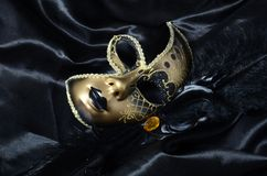 Gold carnival mask with black feathers Stock Image