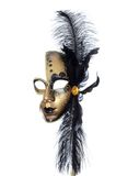 Gold carnival mask with black feathers Royalty Free Stock Image