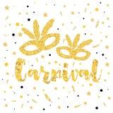 Gold Carnival Mask, Masquerade, Mardi Gras. Vector Illustration Royalty Free Stock Image