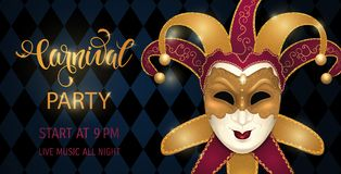 Gold carnival mask with shiny texture. Carnival hand drawn lettering. Invitation card template. Vector illustration EPS10 Royalty Free Stock Photography