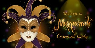 Gold carnival mask with shiny texture. Carnival hand drawn lettering. Invitation card template. Vector illustration EPS10 Stock Photos