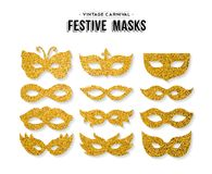 Gold glitter carnival mask set for party event. Gold carnival masks template set made of golden glitter dust. Luxury party costume isolated over white background Royalty Free Stock Image