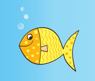Gold cartoon fish. Gold yellow cartoon fish. Vector Illustration vector illustration