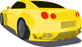 Gold cartoon sport car  back view Stock Photography