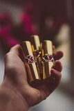 Gold Case Lipstrick Royalty Free Stock Images