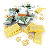 Gold and cash, Euro Stock Image