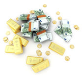 Gold and cash, Euro royalty free stock photography