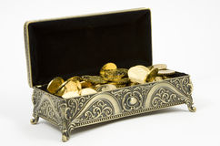 Gold casket and gold coins Stock Images