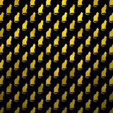 Gold Cat Pattern Faux Foil Metallic Cats Black Background Stock Photo