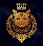 Gold cat silhouette portrait stock illustration