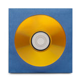 Gold CD With Case. Gold Disc in Blue Case Isolatedon a White Background Stock Image