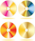 Gold CD, DVD disks set. Vector illustration (EPS8). All parts (object) closed, possibility to edit.  Without a transparency. Isolated on a white background Stock Photos