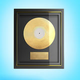 Gold CD prize with label 3d render on blue Royalty Free Stock Image