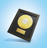 Gold CD prize with label 3d render in blue Royalty Free Stock Images