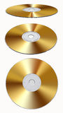 Gold CD-rom Isolated. Compact disk isolated on white background. Image include CLIPPING PATH every object for edit Stock Image