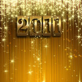 Gold celebration 2011 background. Wit star and banner Royalty Free Stock Photography