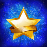 Gold celebration star background. Gold celebration star and banner on a sparkling blue background Royalty Free Stock Images
