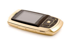 Gold cell phone isolated Royalty Free Stock Photos