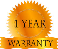 Gold Certicate 1 Year Warranty. Gold Certificate One Year Warranty label Royalty Free Stock Photos