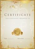 Gold Certificate / Diploma Award Template. Pattern
