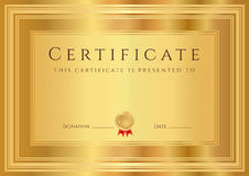 Gold Certificate / Diploma background (template) Stock Photo