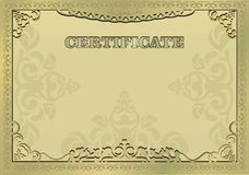 Gold certificate. Ornamental gold border. EPS 10 Stock Photos