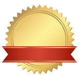 Gold certificate with red banner Stock Photo