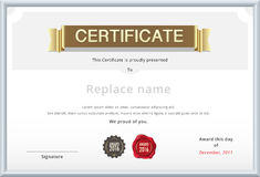Gold certificate template. Education diploma with gold text. sam Royalty Free Stock Images