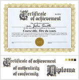 Gold certificate. Template. Horizontal. Stock Photography