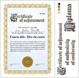 Gold certificate. Template. Vertical. Royalty Free Stock Photo