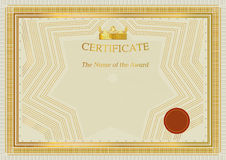 Gold certificate. Teplate. Gold border. Official certificate Stock Image